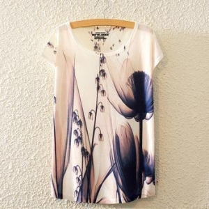 China Hot sale loose women flower print fat lady 3D shirt on sale