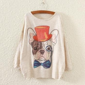 China Hot sale loose women korean style dog print knit sweater on sale