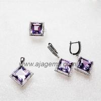 JS020 Natural Lemon Quartz Gems 925 Silver Jewelry Set