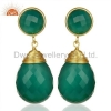 China Green Onyx Teardrop Earrings - Gold Plated for sale