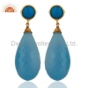 China Blue Chalcedony Gemstone Silver Earrings for sale