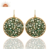 China Gold Plated Sterling Silver Emerald Earrings for sale