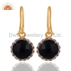 China Sterling Silver Diamond Pave Black Onyx Earrings for sale