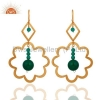 China Sterling Silver Green Onyx Earrings for sale