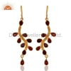 China Gold Plated Sterling Silver Garnet Earrings for sale