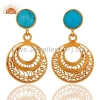 China Turquoise Gold Plated Sterling Silver Earrings for sale