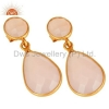 China Gold Plated 925 Silver Rose Chalcedony Earrings for sale