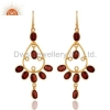 China 18k Gold Plated Sterling Silver Garnet Earrings for sale