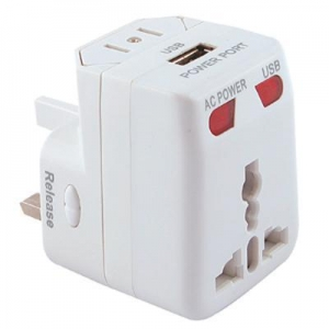 China Mr Universe Travel Adaptor with USB (Stock) - (printed with 4 colour(s)) - (TRA5004s_PROMOITS) on sale