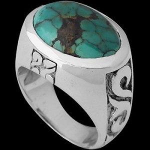 China Men's Jewelry - Turquoise and Sterling Silver Rings R1228 wholesale