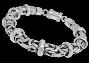 China Mens Jewelry - Sterling Silver Bracelets B676B - Barrel Clasp - 8mm on sale