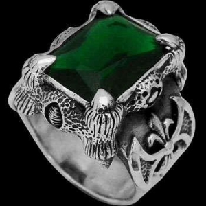 China Men's Jewelry - Green Quartz and .925 Sterling Silver Dragon Claw and Axe Ring R119grn on sale