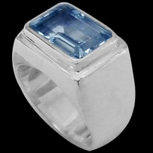 China Men's Jewelry - Blue Topaz and Sterling Silver Rings MR036TP on sale