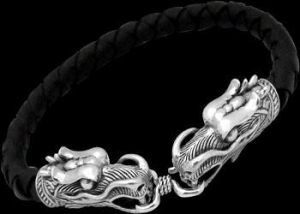 China Black Synthetic leather and .925 Sterling Silver Beaded Dragon Head Bracelets BSL043 - 6mm on sale