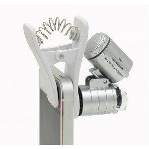 China iPhone microscope-clip microscope with LED lamp-60x microscope for mobile phones on sale