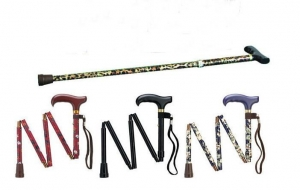 China Aluminum Pattern Floral Printing Folding Walking Cane with Wooden Handle on sale