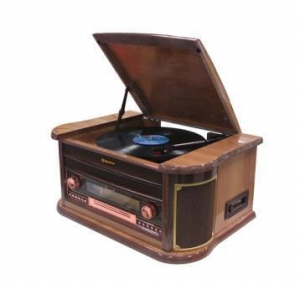 China 3 Speed Record Turntable, with FM DAB Radio USB Bluetooth AUX in, RCA Out Headphone CD MP3 Cassette on sale