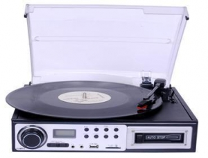 China Portable Turntable with Bluetooth Player, USB PC Encoding CD MP3 Cassette RCA Headphone on sale