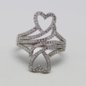 China 2014 hot sale 925 sterling silver heart ladies diamond ring on sale