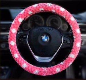 China Girl Lady Fashion Fluffy Vehcle Car SUV Auto Plush Steering Wheel Cover Pink 15 on sale