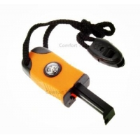 Outdoor Smart Easy Survival Kit Stone Fire Starter Magnesium Flint with Compass Whistle