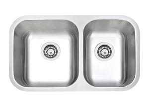 China 27 Inch Undermount Small Double Bowls Cleaning Brushed Stainless Steel Bathroom Sinks In Kitchen, SS on sale