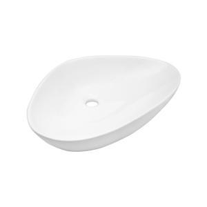 China Latest Unique Luxury Ceramic Solid Surface Space Saver Bathroom Accessories White Vanity Vessel Sink on sale