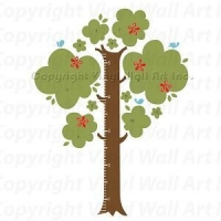 Trees Tree Growth Chart Vinyl Wall Decals Kit