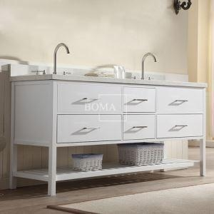 China 72 inch Double Sink Open Shelf Bathroom Vanity White online on sale