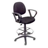 Boss Office Products B1617-BK Ergonomic Works Drafting Chair with Loop Arms in Black