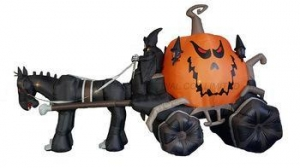 China Giant Inflatable Halloween Grim Reaper Driving Pumpkin Horse Carriage on sale