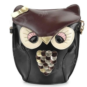 China Fashion Cute Owl Style PU Leather Messengers for Women - Black on sale