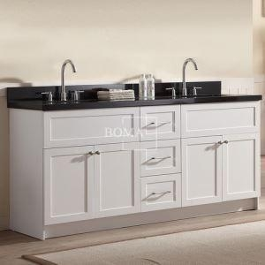China 72 Contemporary White Shaker Double Sink Bathroom cute Vanity with Black Granite and Sink online on sale