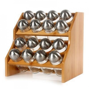 China Bamboo Wooden Round Narrow Spice Jars Rack on sale
