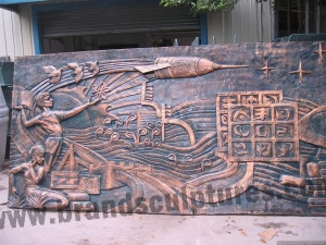 China Huge Fiberglass Relief Abstract Sculpture Wall as Home Decoration on sale