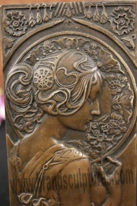 China Decor Elegant Lady Relief Carving Metal Sculpture on sale