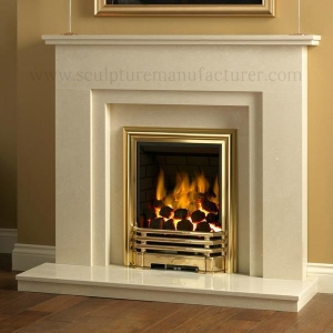 China Carved Hunan White Marble Stone Fireplace on sale