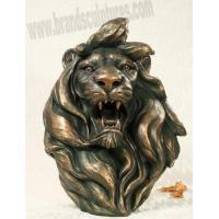 China Huge Roaring Fiberglass Lion Statue Head as Home Ornament on sale