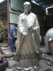 China Religious Art Monk Buddha Stainless Steel Temple Statue on sale