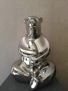 China Inner Life-Size Bear Metal Steel Modern Abstract Sculpture on sale