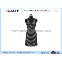 China V-neck Black and White Stripes Pleated Skirt Sleeveless Midi Dress on sale