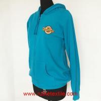Blue Casual Zip Hoodie, Casual Cotton Fleece Hoodie for Adults