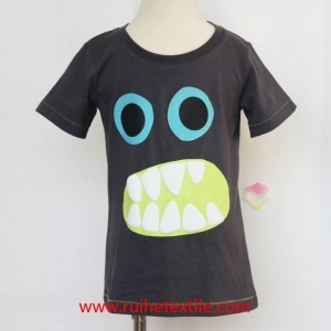 China Summer Short Sleeve Baby Tee Shirt Monster Puff Print Infant Boy Clothes on sale