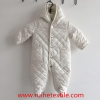Winter White Quilted Snowsuit One Piece Jumpsuit for Baby Boys