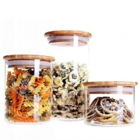 China Round Shape Glass Food Storage Jar Set with Airtight Bamboo Lid on sale
