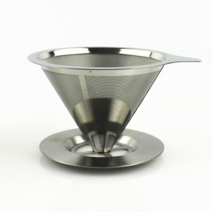China Food Grade 18\8 (304) Stainless Steel Reusable Drip Cone Coffee Filter on sale