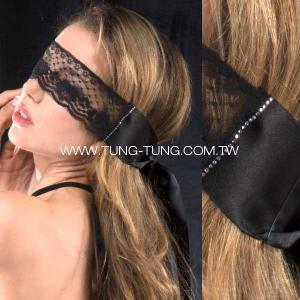 China Women's Lingerie Rhinestone Lace Ribbon Eye Mask on sale