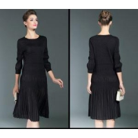 China Half Sleeve Black Woman Crew Neck Ankle Dress on sale