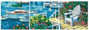 China Scenery Triptych Set of Three Oil Painting by Numbers Kit for Home Decor Wall Art on sale