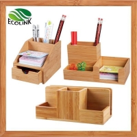 China Bamboo Wood Office Supply Desktop Storage Organizer Caddy on sale